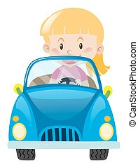 Little girl driving in blue car
