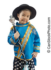 little girl drum major smile, isolated background with clipping path.