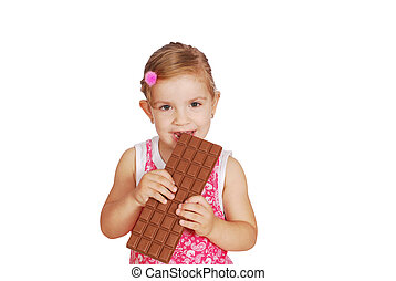 little girl eat large chocolate