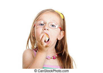 Little girl eating bread doing fun isolated