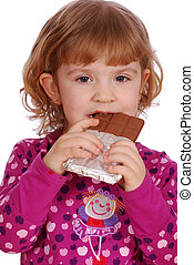 little girl eating chocolate