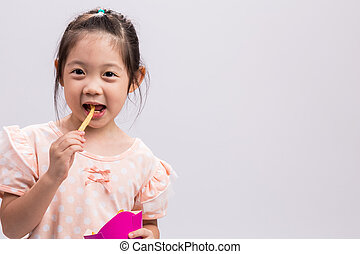 Little Girl Eating French Fries / Little Girl Eating French Fries Background