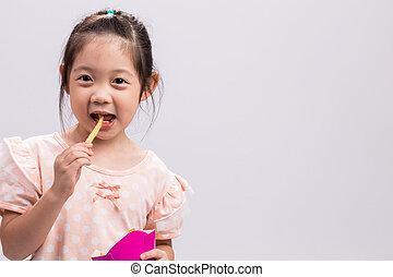 Little Girl Eating French Fries / Little Girl Eating French Fries Background