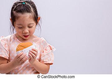Little Girl Eating Hamburger / Little Girl Eating Hamburger Background