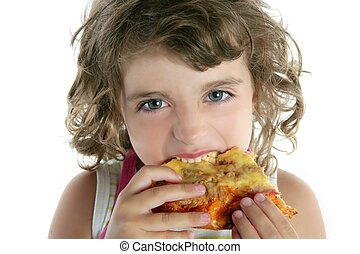 little girl eating hungry pizza closeup portrait face detail