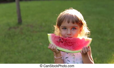 Portrait of happy little girl with watermelon in summer Sunny Park.