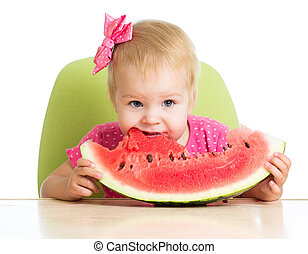 little girl eating watermelon