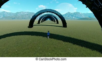 Little girl entering black tunnel in middle of valley animation