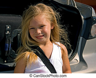 Little Girl Excited For A Trip