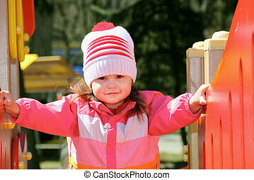 Little Girl Exploring Playground