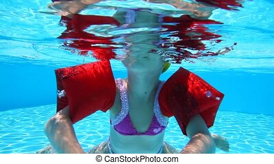 Little girl floundering in the pool water