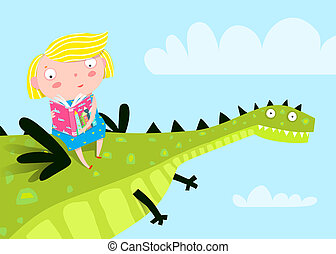 Little girl flying a Dragon reading book.