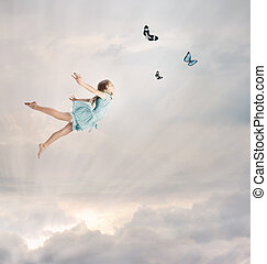 Little Girl Flying at Twilight - Little Blonde Girl Flying...