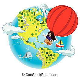 Little girl flying in the air ballo