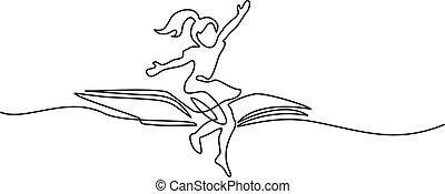 Little girl flying on book in the sky
