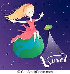 Little girl flying on Earth planet - concept of global travel
