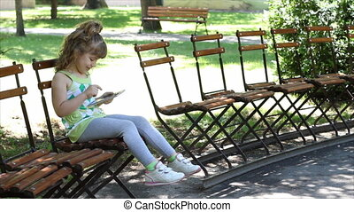 little girl fun with tablet