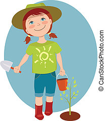 Little girl gardener - Cute cartoon kid with a basket and...