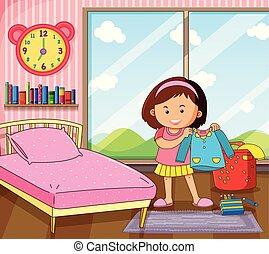 Little girl getting dress in bedroom