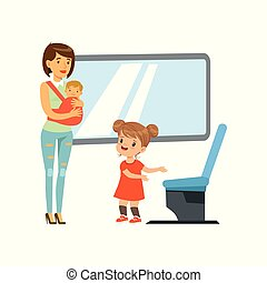 Little girl giving way to woman with baby in public transport, kids good manners concept vector Illustration isolated on a white background.