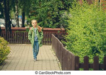little girl go to school