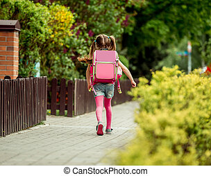 little girl  going to school