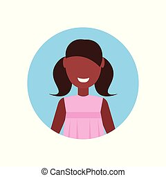 little girl happy african american child face avatar female cartoon character portrait flat isolated
