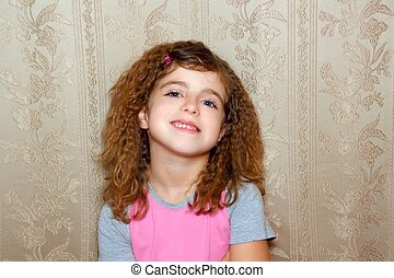 little girl happy funny expression on vintage wallpaper