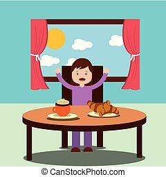 little girl happy to eat breakfast in the morning