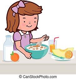 Little girl having breakfast. Vector illustration