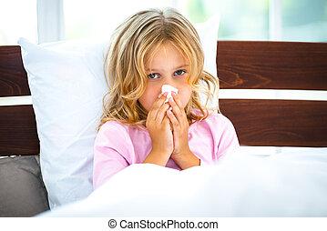 Little girl having flue or allergy - Photo of little girl...