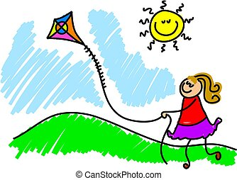 flying a kite - little girl having fun flying a kite - ...