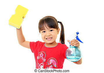 little girl helping to clean up - A little asian girl ...