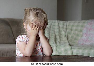 Little girl hiding her face - A toddler hiding her face ...