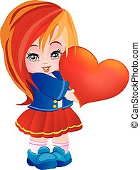 little girl holding a big red heart in her hands, isolated object on a white background, vector illustration,