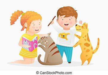 Little girl holding a book reading to cat, boy playing with his dog. Happy children and domestic animals cartoon.