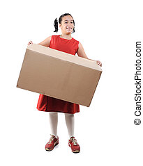 Little girl holding a box, isolated