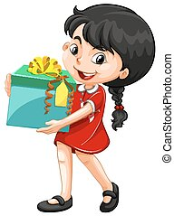 Little girl holding a box of present