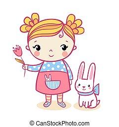 Little girl holding a flower.