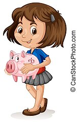Little girl holding a piggy bank