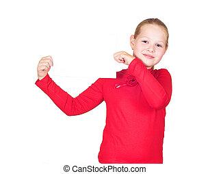 little girl holding a white sheet of paper
