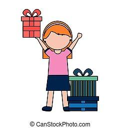 little girl holding birthday gift