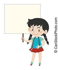 Little girl holding blank sign
