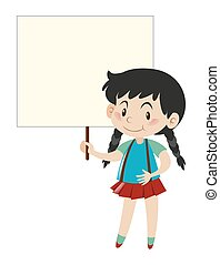 Little girl holding blank sign