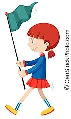 Little girl holding blue flag
