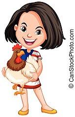 Little girl holding chicken