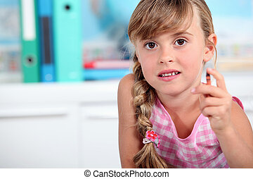 Little Girl Holding Painted Stars Pink Background Little Girl