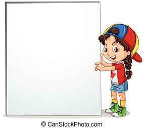 Little girl holding empty sign