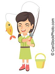 Little girl holding fishing rod with fish on hook.