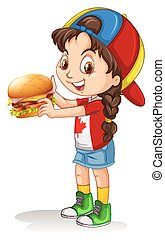 Little girl holding hamburger